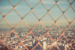 View on LA through wire fence Royalty Free Stock Images