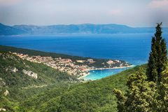View from Labin to Rabac and Kvarner bay, Istria, Croatia. There is beautiful sunny day at summer royalty free stock photography