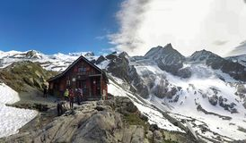 View Of Lac Blanc Refuge stock photography