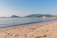 View of Laganas Bay. From the beach on Zakynthos Island, Greece stock images
