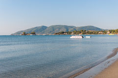 View of Laganas Bay. From the beach on Zakynthos Island, Greece stock image