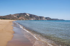 View of Laganas Bay from the Kalamaki beach on Zakynthos. Greece royalty free stock images