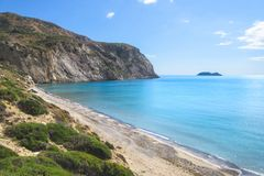 View of Laganas Bay from the Kalamaki beach on Zakynthos. Greece royalty free stock photos