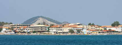 View of Laganas coast on Zakynthos. LAGANAS, GREECE - OCTOBER 1 : A panoramic view of the coast of Laganas resort on October 1, 2011 in Laganas, Zakynthos royalty free stock images