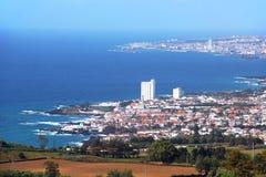 View of Lagoa and Ponta Delgada, Sao Miguel island, Azores Royalty Free Stock Images
