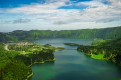 Lagoa Sete Cidades lakes on Sao Miguel island. View of Lagoa Sete Cidades lakes on Sao Miguel island royalty free stock photos