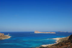 View of the lagoon Ballos(Balos) and the island Gramvousa Stock Photos