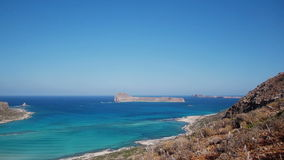 View of the lagoon Ballos(Balos) and the island Gramvousa Royalty Free Stock Photos