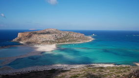 View of the lagoon Ballos(Balos) and the island Gramvousa Royalty Free Stock Photography