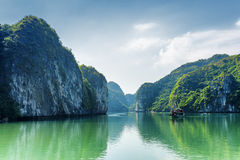 View of lagoon in the Ha Long Bay, the South China Sea, Vietnam Royalty Free Stock Images