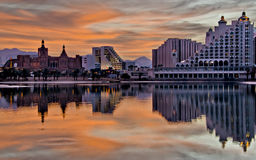 View on lagoon and hotels of Eilat, Israel Royalty Free Stock Image