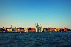 View on the lagoon of Venice with church Santa Maria del Rosario dei Gesuati commonly know as Il Gesuati, Italy Royalty Free Stock Photos