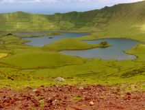 View of the lagoon in a volcano cone, Azores, Portugal. Small Portuguese island in the middle of the Atlantic Stock Images