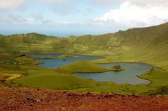 View of the lagoon in a volcano cone, Azores, Portugal. Small Portuguese island in the middle of the Atlantic Stock Photography