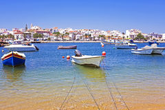 View on Lagos in Portugal. View on the harbor from Lagos in Portugal Stock Image
