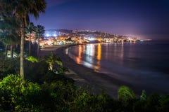 View of Laguna Beach at night, from Heisler Park in Laguna Beach Royalty Free Stock Images