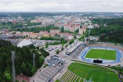 View on Lahti, Finland. View on Lahti town with sport complex and football field, taken from the top, Finland, June 2010 Royalty Free Stock Image