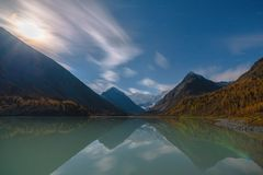 View from lake Akkem on mountain Belukha near board between Russia and Kazahstan during golden autumn Royalty Free Stock Photography