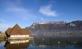 View of Lake Annecy in autumn Stock Photo