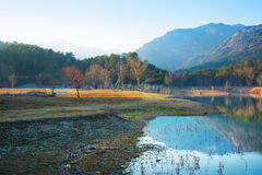 View of lake  in autumn evening. Muga,  Catalonia. Spain Royalty Free Stock Photography