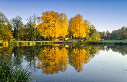 View on lake in autumn in Poland Royalty Free Stock Images