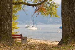View of the lake in the autumn Royalty Free Stock Images