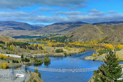 View of Lake Benmore from the top of the dam that powers the hydroelectric power station, in Canterbury Stock Photo