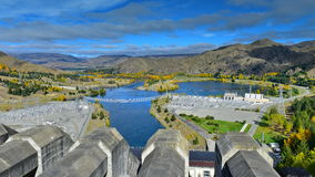 View of Lake Benmore from the top of the dam that powers the hydroelectric power station, in Canterbury Royalty Free Stock Photos