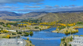 View of Lake Benmore from the top of the dam that powers the hydroelectric power station, in Canterbury Stock Image