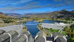 View of Lake Benmore from the top of the dam that powers the hydroelectric power station, in Canterbury Royalty Free Stock Photography