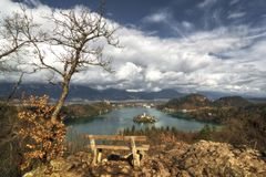 View of lake Bled in Slovenia from the top of the hill Ojstrica stock photography