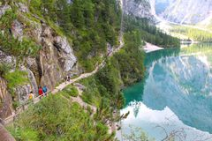 View of the Lake Braies, Dolomites, Italy stock photography
