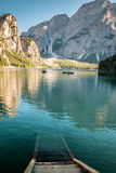 View of Lake Braies in the Italian Alps Stock Image