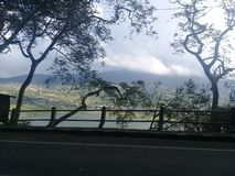 View of lake buyan from the road wanagiri bali royalty free stock photos