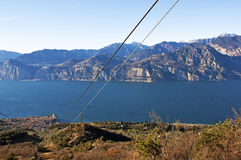 View on the lake from cable car. A view on Alpes and lake Garda from cable car Royalty Free Stock Image