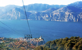 View on the lake Garda from cable car. A view on Alpes and lake Garda from cable car Stock Photos