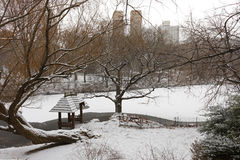 View of the Lake in Central Park during winter. View of gazebo and the Lake in Central Park, New York City during a snowy, winter day, with the skyline of Royalty Free Stock Photos