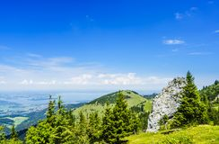 View on the Lake Chiemsee in Bavaria in summer from the Kampenwand Massive royalty free stock images