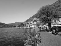 View of Lake Como in black and white Stock Photo