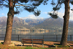 View on Lake Como and mountains. Stock Photo
