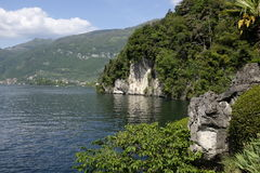 View of Lake Como. Panoramic view of Lake Como from the gardens of Villa del Balbianello Royalty Free Stock Photography