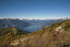 A view on the lake. A view of the lake of como from the top of a mountain Royalty Free Stock Images