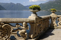 View of Lake Como from Villa del Balbianello. Panoramic view of the west branch of Lake Como,Italy Stock Image