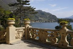 View of Lake Como from Villa del Balbianello. Panoramic view of the west branch of Lake Como, Italy from a balcony of Villa del Balbianello royalty free stock photography
