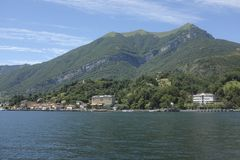 View of Lake Como west branch. Panorama of the west branch of Lake Como with Tremezzo and Villa Carlotta Stock Photo