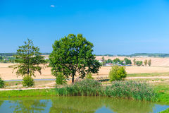 View of the lake and the countryside in the field Royalty Free Stock Photos