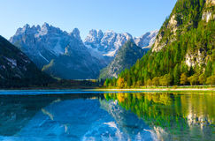 View from Lake di Landro. Dolomites, Italy to massif Monte Cristallo Royalty Free Stock Images