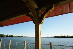 View of lake from dock. View of lake while under dock shelter Royalty Free Stock Image