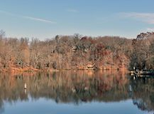 A view of a lake on a fall day stock photo