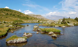 View on the lake Fourchu in the French Alps Royalty Free Stock Photography